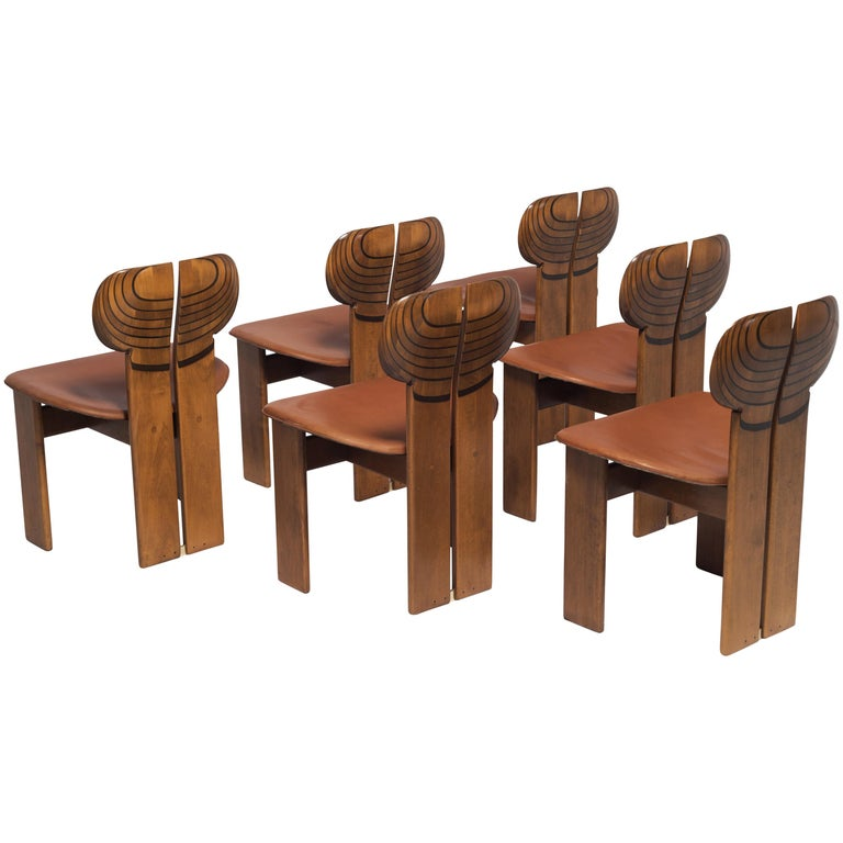 Afra and Tobia Scarpa Africa Chairs with Cognac Leather Seating