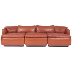 Saporiti Confidential Cognac Leather Sofa by Alberto Rosselli