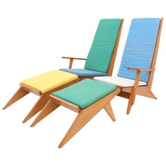 Beech lounge chairs, Italy, 1970s