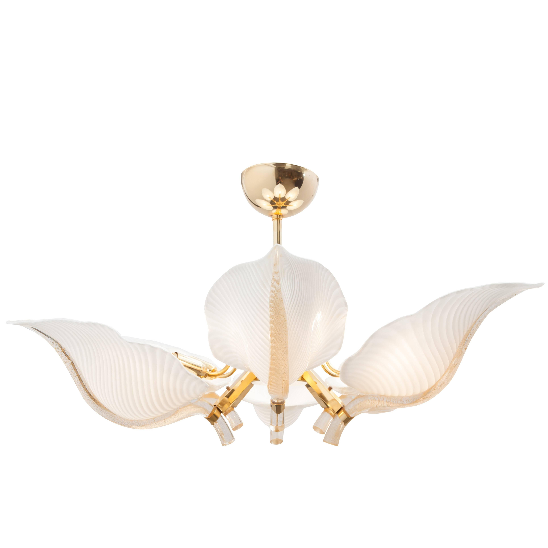 Brass Franco Luce Murano Glass Leaf Chandelier