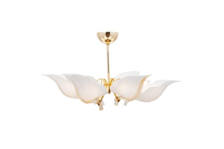Hollywood Regency Franco Luce Murano Glass Leaf Chandelier  For Sale