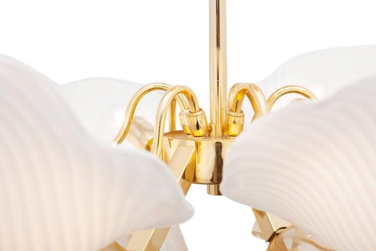 Italian Franco Luce Murano Glass Leaf Chandelier  For Sale