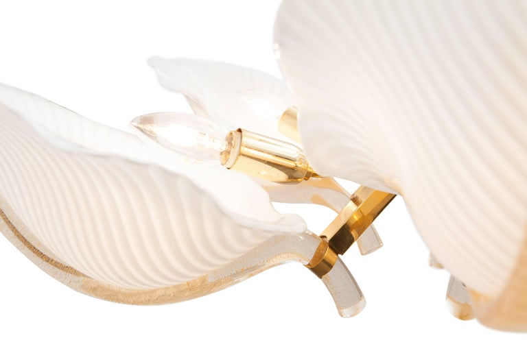 Brass Franco Luce Murano Glass Leaf Chandelier  For Sale
