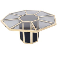 Hollywood Regency Roche Bobois Octagonal Brass Dining Table