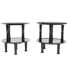 Black Lacquered Side Tables, 1950s