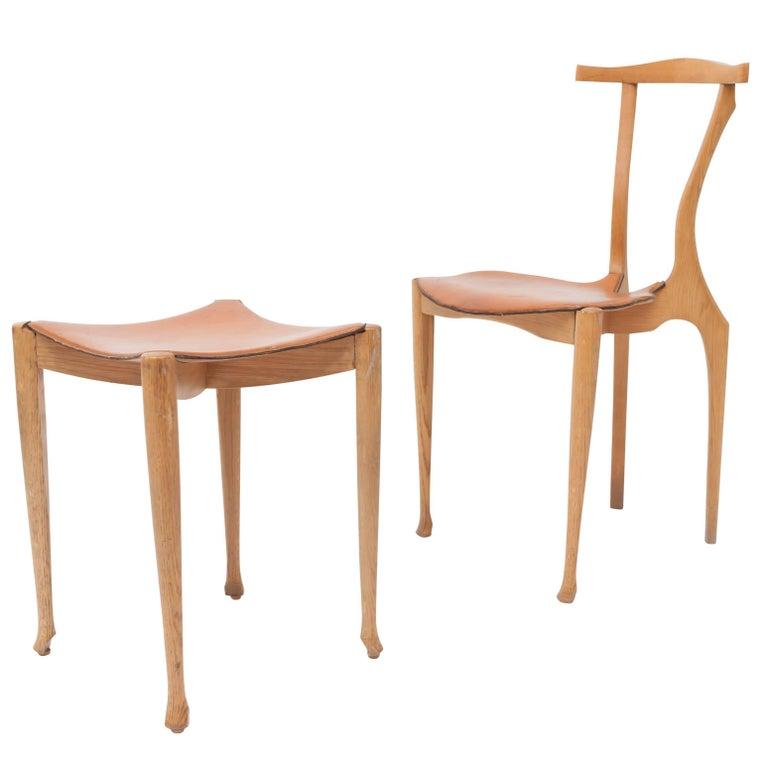 Oscar Tusquets 'Gaulino' Oak Chair and Ottoman For Sale
