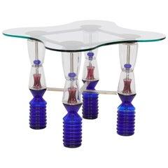 Postmodern Van Praet & Val Saint Lambert One-of-a-Kind Crystal Gaming Table