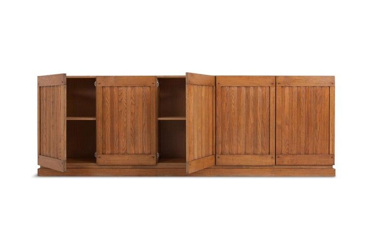 Minimalist Brutalist Natural Oak Credenza with Geometric Door Panels For Sale
