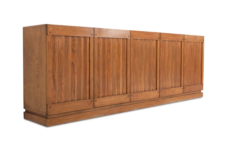 20th Century Brutalist Natural Oak Credenza with Geometric Door Panels For Sale