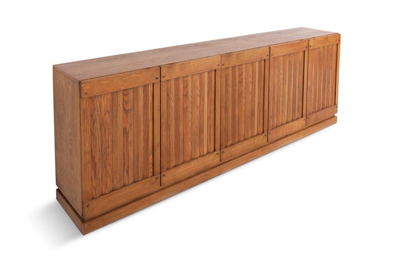 Brutalist Natural Oak Credenza with Geometric Door Panels For Sale 1