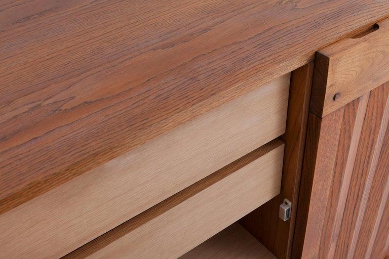 Brutalist Natural Oak Credenza with Geometric Door Panels For Sale 2