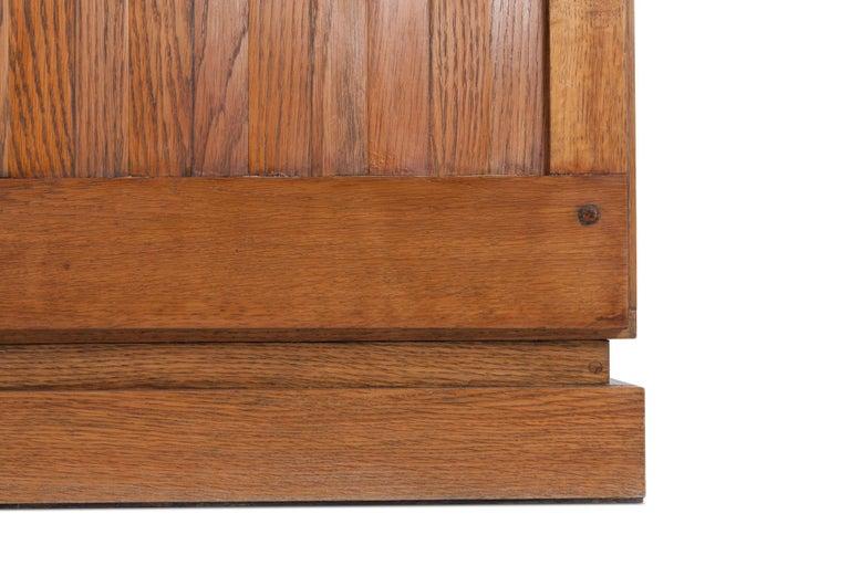 Brutalist Natural Oak Credenza with Geometric Door Panels For Sale 3
