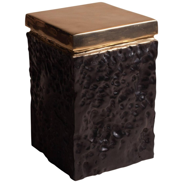 Bronze Hand Casted Side Table or Stool by Studio Goldwood For Sale