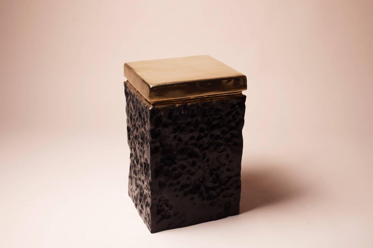 Hollywood Regency Bronze Hand Casted Side Table or Stool by Studio Goldwood For Sale