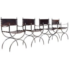 "Maison Jansen Leather and Chrome ""Savonarola"" Emperor Chairs"