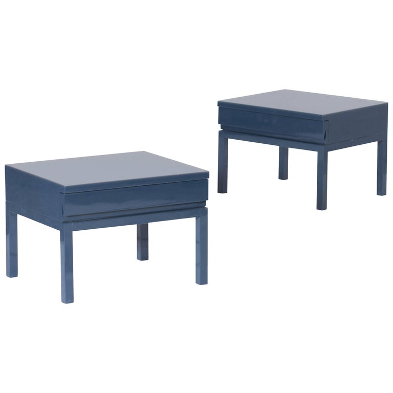Mid-Century Modern Emiel Veranneman Petrol Blue Lacquered Side Tables For Sale