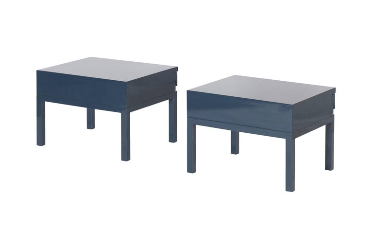 Belgian Mid-Century Modern Emiel Veranneman Petrol Blue Lacquered Side Tables For Sale