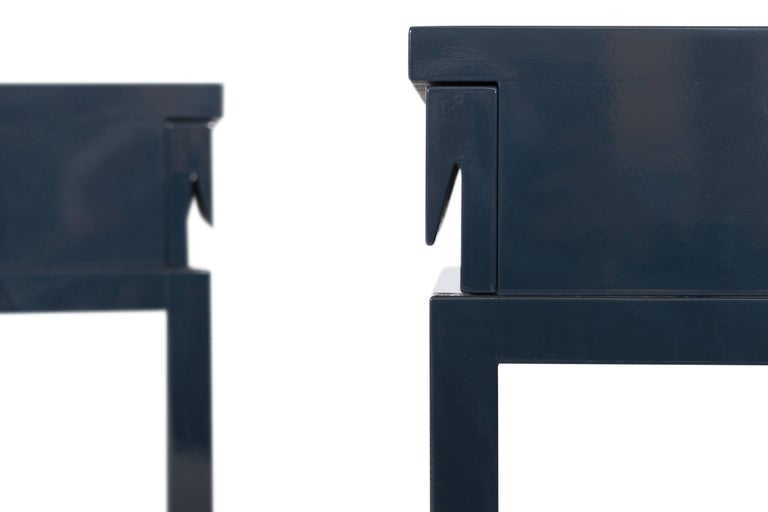 Mid-Century Modern Emiel Veranneman Petrol Blue Lacquered Side Tables In Good Condition For Sale In Antwerp, BE