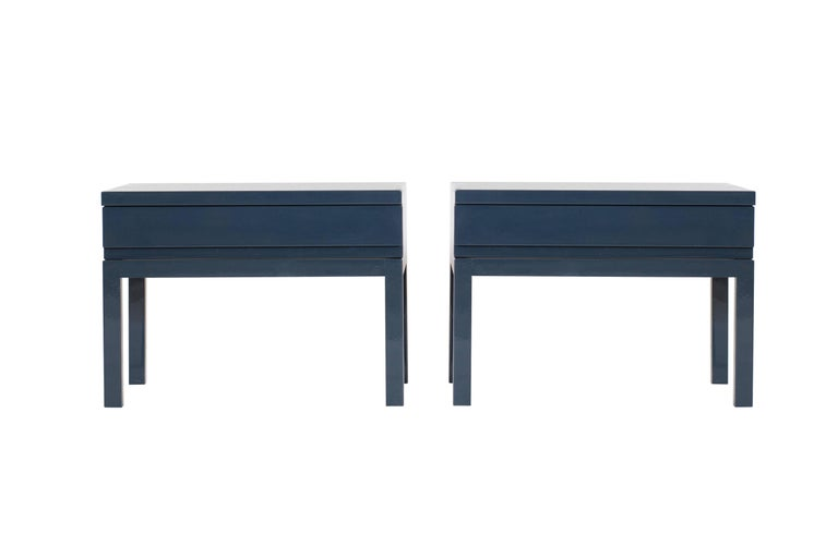 Late 20th Century Mid-Century Modern Emiel Veranneman Petrol Blue Lacquered Side Tables For Sale