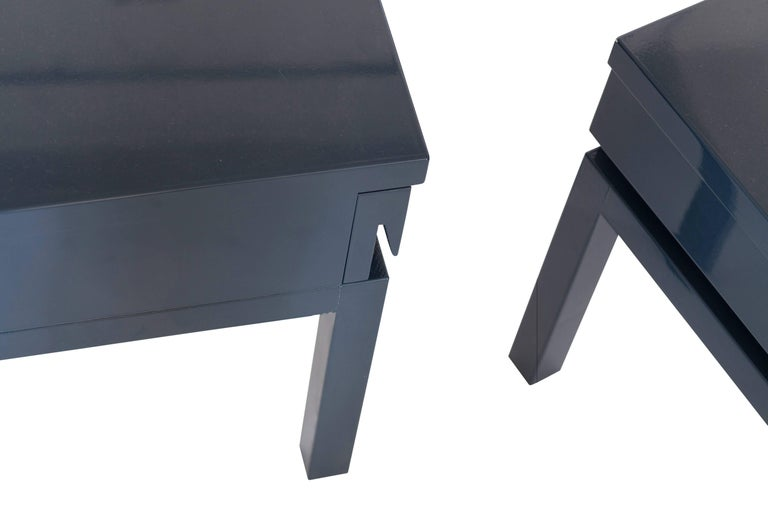 Mid-Century Modern Emiel Veranneman Petrol Blue Lacquered Side Tables For Sale 3