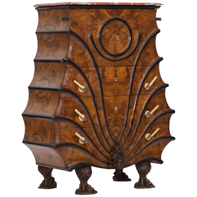 Art Deco Exuberant Walnut, Ebony and Marble Drawer Chest For Sale