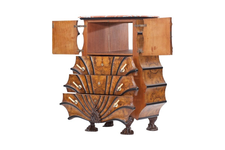 Art Deco Exuberant Walnut, Ebony and Marble Drawer Chest In Good Condition For Sale In Antwerp, BE