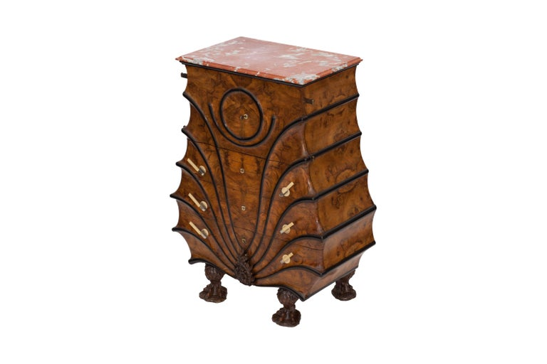 Early 20th Century Art Deco Exuberant Walnut, Ebony and Marble Drawer Chest For Sale