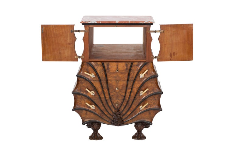 Art Deco Exuberant Walnut, Ebony and Marble Drawer Chest For Sale 5
