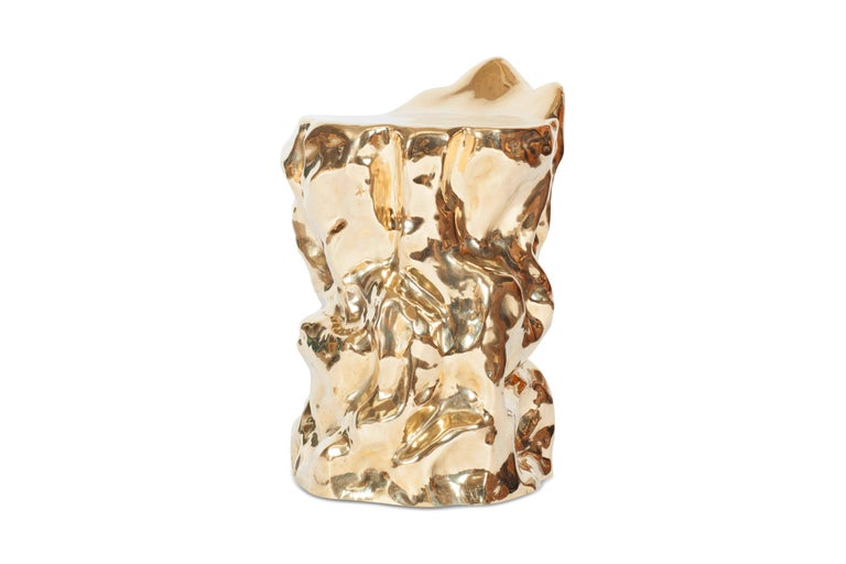 Contemporary Bronze Sculptural 'Lava' Stool by Studio Goldwood For Sale