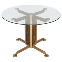 Hollywood Regency Brass Dining Table by Luciano Frigerio