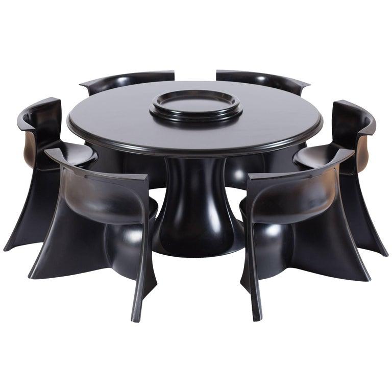 Mid-Century Modern Black 'Boccio' Table and Chairs by Pierluigi Spadolini, 1971 For Sale