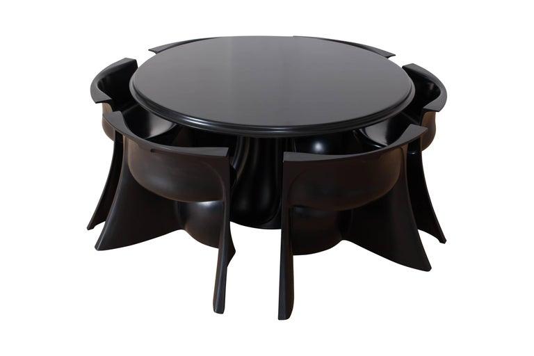 Mid-Century Modern Black 'Boccio' Table and Chairs by Pierluigi Spadolini, 1971 For Sale 1