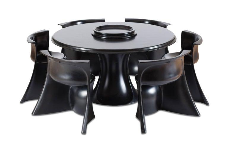Mid-Century Modern Black 'Boccio' Table and Chairs by Pierluigi Spadolini, 1971 For Sale 10