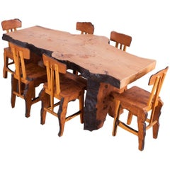 Mid-Century Modern Wabi Sabi Dining Table and Chairs in the Style of Nakashima
