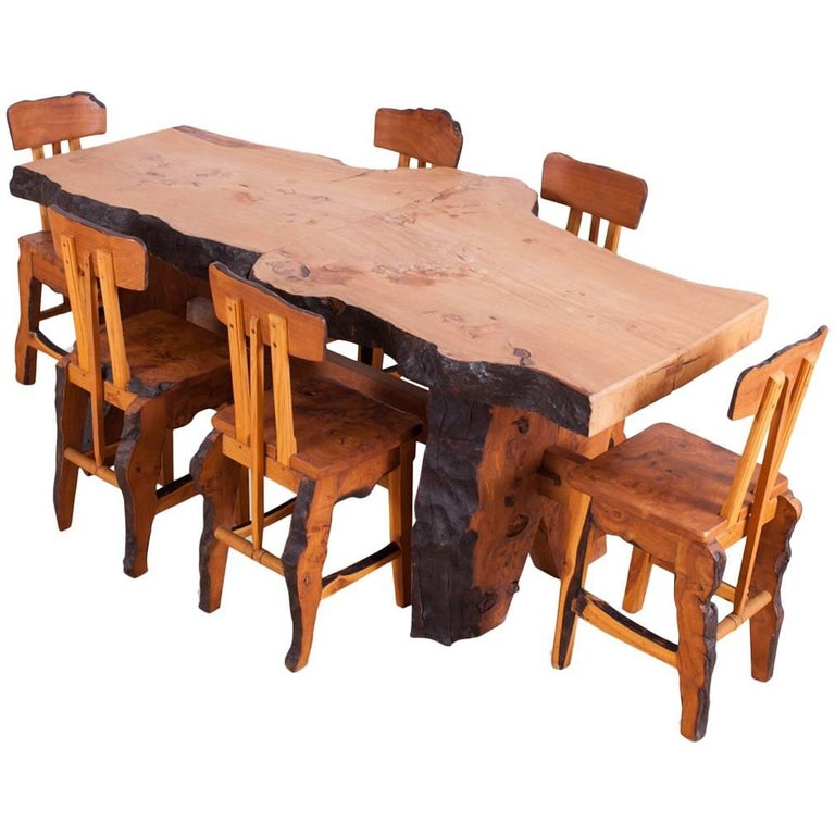 Excellent Mid Century Modern Wabi Sabi Dining Table And Chairs In The Style Of Nakashima Alphanode Cool Chair Designs And Ideas Alphanodeonline