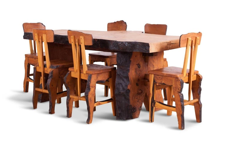 Folk Art wabi sabi dining set in French elm (extinct) matching table and chairs custom designed in an Atelier Français in the 1960s Artisanal character gives a very personal feel and soul to your interior. An ideal set for an eclectic