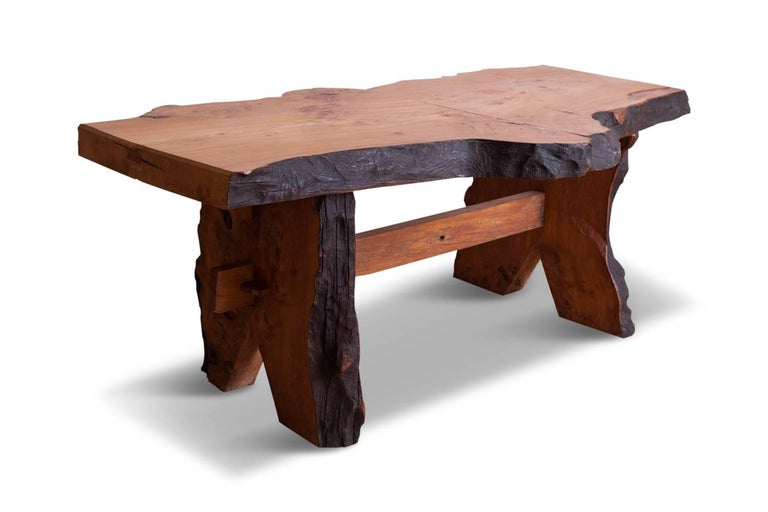 French Mid-Century Modern Wabi Sabi Dining Table and Chairs in the Style of Nakashima