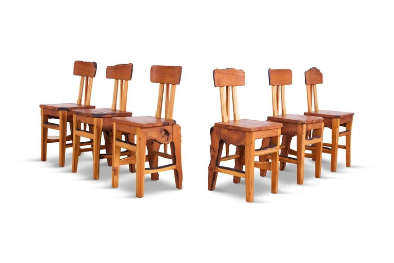 Mid-Century Modern Wabi Sabi Dining Table and Chairs in the Style of Nakashima 5