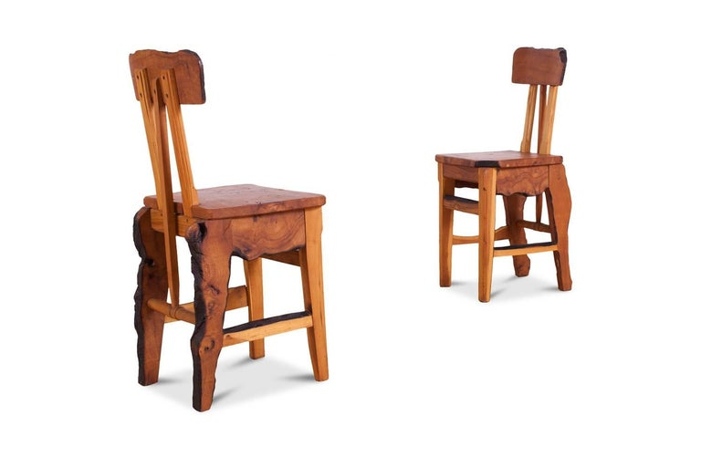 Mid-Century Modern Wabi Sabi Dining Table and Chairs in the Style of Nakashima 9