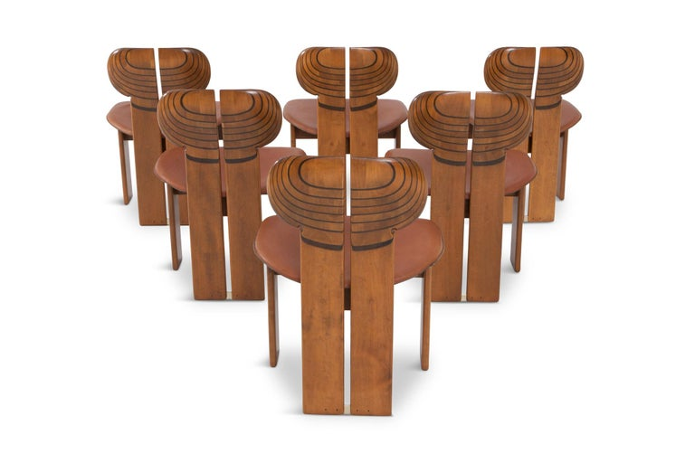 Mid-Century Modern Afra and Tobia Scarpa Africa Chairs with Cognac Leather Seating For Sale