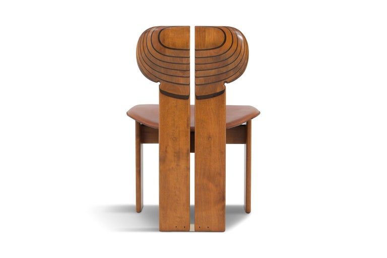 Afra and Tobia Scarpa Africa Chairs with Cognac Leather Seating For Sale 1