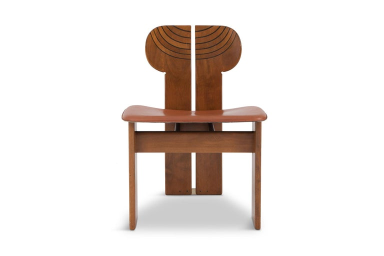 Afra and Tobia Scarpa Africa Chairs with Cognac Leather Seating In Good Condition For Sale In Antwerp, BE