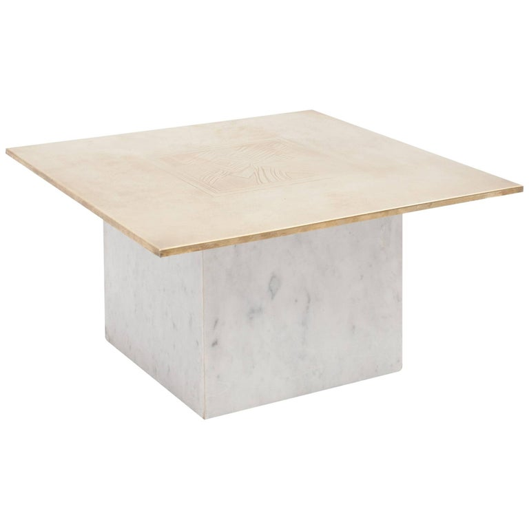 Brass Etched Hollywood Regency Marble Side Table For Sale