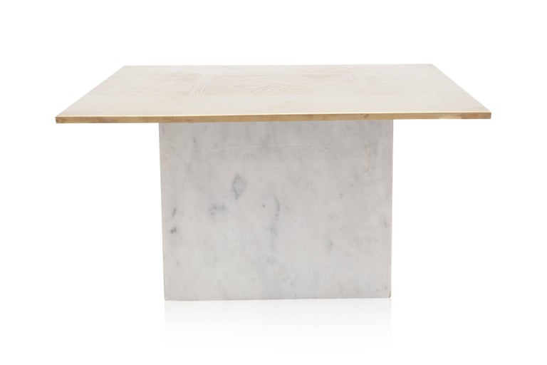Belgian Brass Etched Hollywood Regency Marble Side Table For Sale