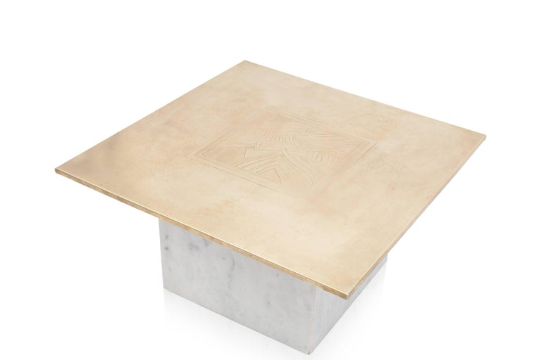 Brass Etched Hollywood Regency Marble Side Table In Good Condition For Sale In Antwerp, BE
