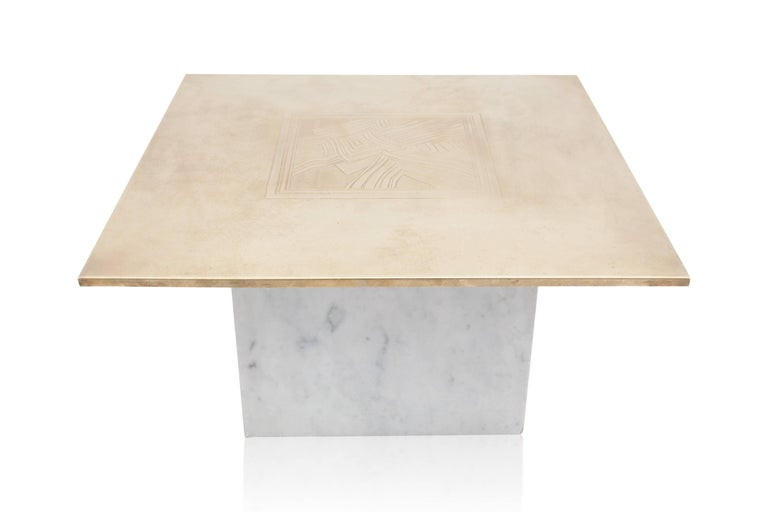 Brass Etched Hollywood Regency Marble Side Table For Sale 1