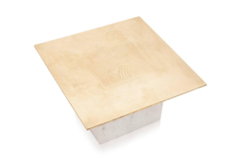 Brass Etched Hollywood Regency Marble Side Table For Sale 2