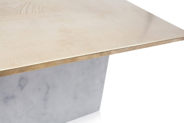 Brass Etched Hollywood Regency Marble Side Table For Sale 3
