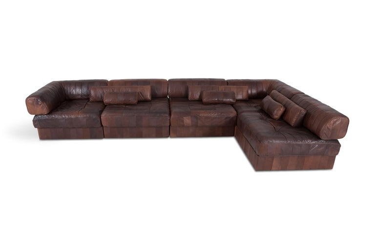 DS 88 sectional sofa in patchwork brown-cognac leather. 