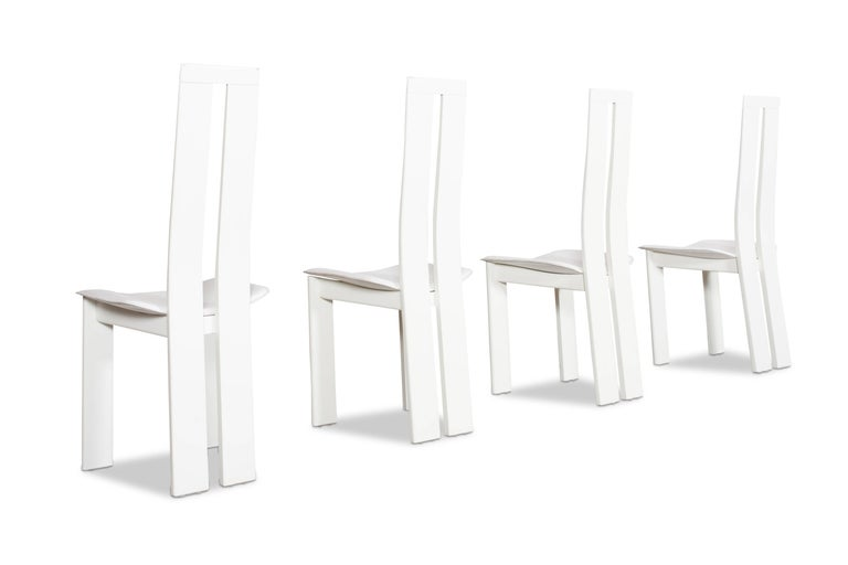 Mid-Century Modern Postmodern Pietro Costantini White Leather Dining Chairs For Sale